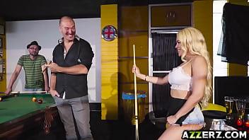 Blonde babe Luna Star anal fuck on a billiard table