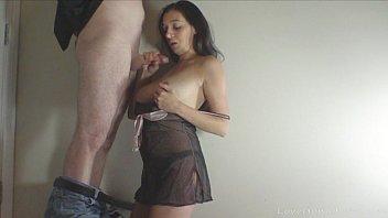 Cute girlfriend gets down and sucks dick