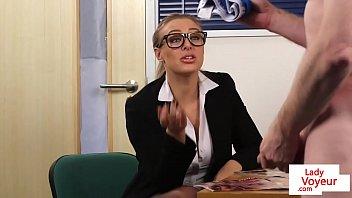 Stockinged femdom voyeur teasing her subject 2