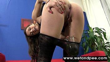 Mona Lee wets herself in her panties