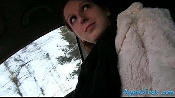 Pretty redhead amateur Zuzana fucked in a cab for cash