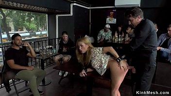 Huge tits blonde anal banged in bar