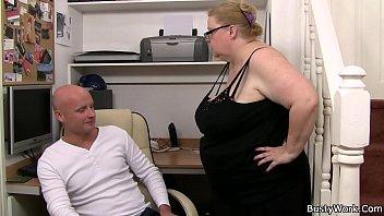 Big-belly fatty sucks and rides his cock