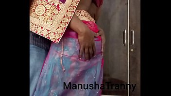 Remove my saree - Escort girl Manusha Tranny being undressed and exposing navel nude desi