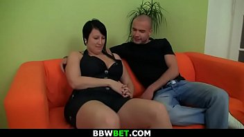 Can he score with just picked up brunette BBW?!