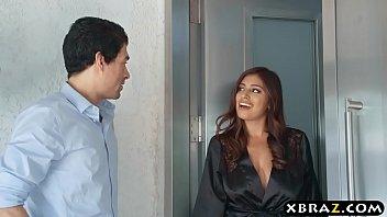 Huge tits latina hottie massages her neighbors big dick