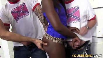 Ebony Ana Foxxx Enjoys Interracial Gangbang