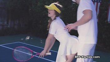 Tennis court fourway with horny teen besties