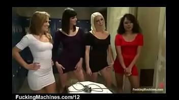 Four babes fuck machine anally in locker room