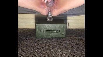 Sexy man fucking big dildo