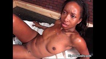 Horny ebony slut gets fucked hard
