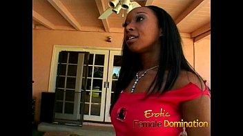 Petite ebony goddess fucks a kinky guy with a strap-on