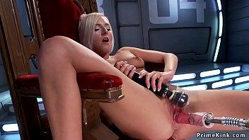 Hot solo blonde fucks machine doggy