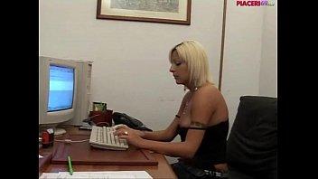 Italian blonde secretary masturbating in the office - italian