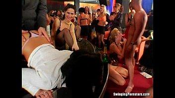 Dirty club chicks suck dicks in public