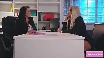 Busty CEO licks her hot blonde employee