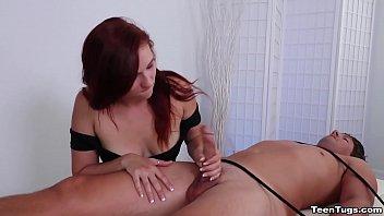 Sexy redhead handjob