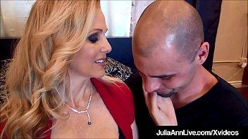 Gorgeous Busty Milf Julia Ann Sucks &amp_ Fucks 2 Hard Cocks!