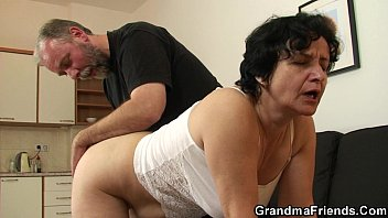 Old old grandma in lingerie swallows two cocks