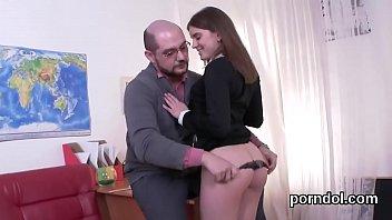 Natural schoolgirl is teased and screwed by her older tutor