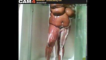 Ebony slut with massive tits soapy public shower on cam Whore4ur