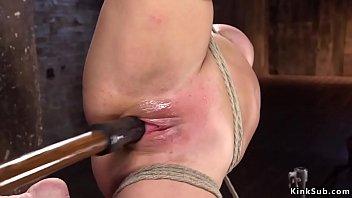 Blonde Milf toyed in hogtie suspension