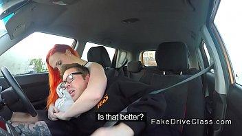 Big ass redhead bbw bangs in driving school