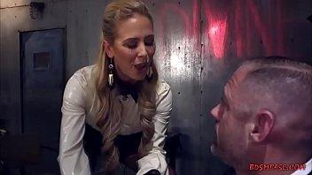 Busty blonde milf using fleshlight on her slave