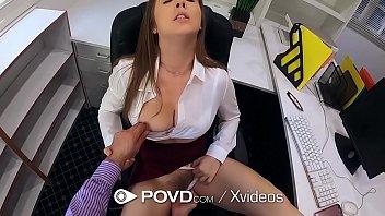 POVD Busty secretary Lena Paul fucks for promotion
