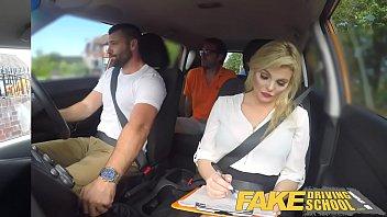 Fake Driving School Sexy busty posh blonde examiner sucks and fucks in car Thumb