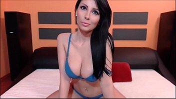 Big-tits brunette private webcam show