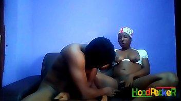 I caught horny sexy ebony teen masturbating I had to join the act.