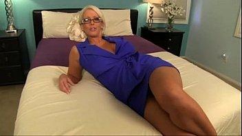 Alura Jenson Jerks her son'_s cock.  TabooHandjobs.com