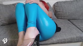 Camgirl Nina in blue shiny tattoo camgirl