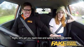 Fake Driving School Slim hot redhead minx fucks better then she drives