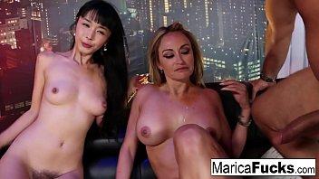A horny couple bangs their waitress at a night club
