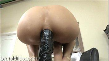 Amber Rayne anal solo with huge dildo