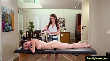 Stepmom full body massage to daughter