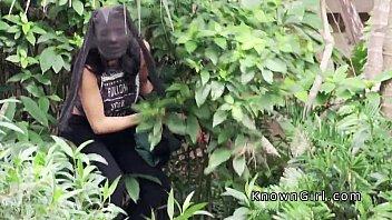 Burglar girlfriend banging outdoor