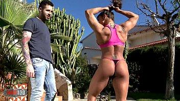 Strength demo by Karyn the muscular milf