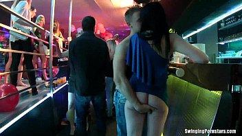 Lusty club chicks fucking in public