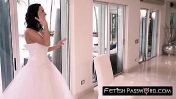 Aspiring bride Ashley Adams facialized with groom watching