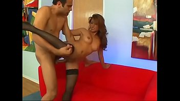 Amazing asian bitch in black lingerie Charmane Star sucks and fucks by huge dick on red sofa then takes cum on her legs