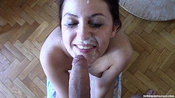 Sexy European chick Meg Magic sucks a dick