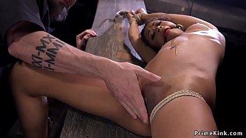 Ebony in bondage rides Sybian