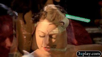 Two brunette beauties hot body massage