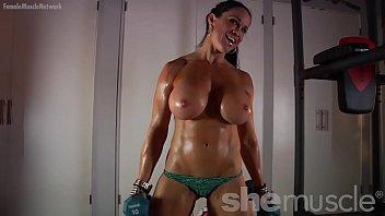 Naked Female Bodybuilder Loves Showing Off Her Huge Tits