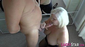 Granny rides and tit fucks big dick