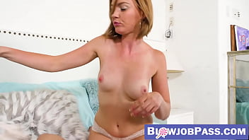 Lingerie clad Marie McCray teases before swallowing cock