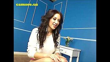 Busty brunette masturbating on webcam at home pornstar james
